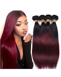Burgundy Straight Color 1B/99J Brazilian Virgin Remy Human Hair 1 Piece Hair Bundle