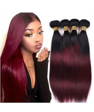 Burgundy Straight Color 1B/99J Brazilian Virgin Remy Human Hair 1 Piece Hair Bundle