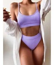 Solid Color Women Split Bikini Swimsuit - Violet
