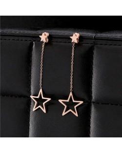 Dangling Golden Star Design Stainless Steel Women Earrings