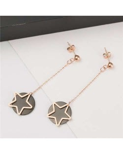 Dangling Stars and Round Pendants Combo Design Korean Fashion Stainless Steel Earrings