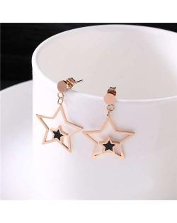 Star Theme Western Fashion Stainless Steel Earrings