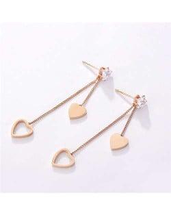 Dangling Dual Hearts Design Women Stainless Steel Earrings