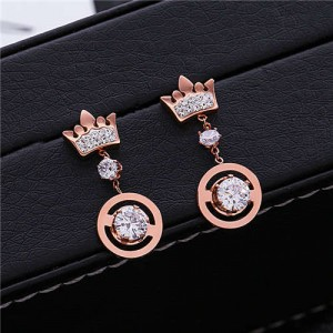 Crown Fashion Rhinestone Dangling Women Stainless Steel Earrings