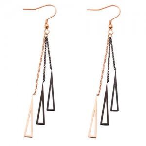 Geometric Design Tassel Stainless Steel Shoulder Duster Earrings