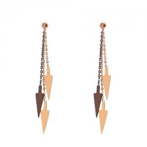Dangling Arrows Tassel Design Stainless Steel Shoulder Duster Earrings