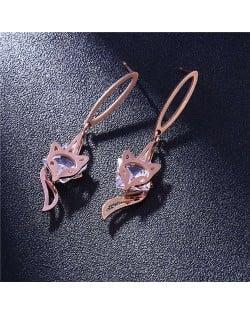 Fox Design Stainless Steel Women Shoulder Duster Earrings