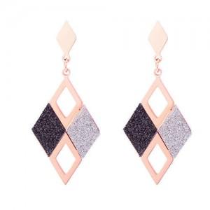 Creative Hollow Rhombus Stainless Steel Women Dangling Earrings