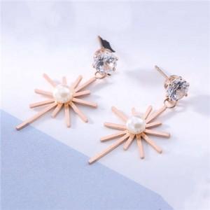 Pearl Inlaid Glistening Star Design Women Stainless Steel Earrings