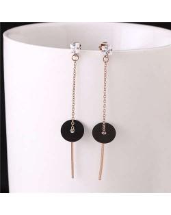 Black Round Pendant Women Tassel Stainless Steel Shoulder Duster Earrings
