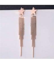 Golden Star and Chains Tassel Women Stainless Steel Earrings