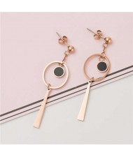 Rounds and Dangling Tassel Combo Women Stainless Steel Earrings