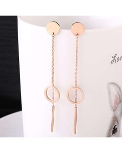 Dangling Round and Stick Combo Stainless Steel Earrings