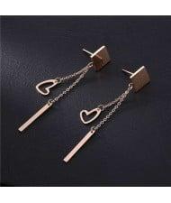 Heart and Stick Tassel Design Square Shape Women Stainless Steel Earrings