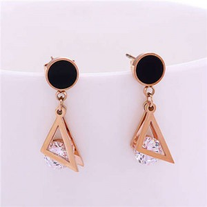 Triangles and Rhinestone Combo Short Fashion Stainless Steel Stud Earrings