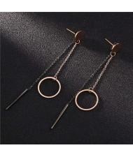Dangling Ring and Stick Tassel Stainless Steel Women Shoulder Duster Earrings