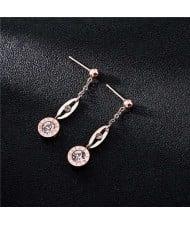 Roman Numerals Engraved High Fashion Dangling Rhinestone Stainless Steel Women Earrings