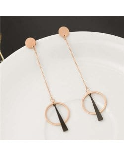 Unique Dangling Rings Design Stainless Steel Earrings