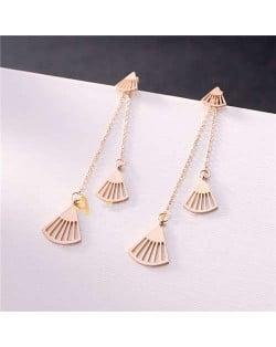 Romantic Seashell Stainless Steel Tassel Earrings