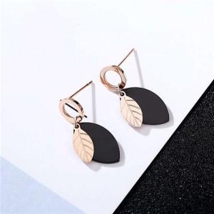 Short Contrast Colors Leaves Design Stainless Steel Earrings