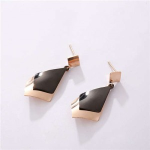 Dual Colors Geometric Design Women Stainless Steel Earrings