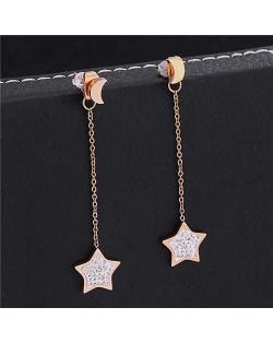 Shining Stars and Moons Combo Stainless Steel Women Shoulder Duster Tassel Earrings