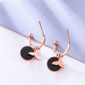 Fish Tail with Round Pendant Combo Design Stainless Steel Women Earrings - Black