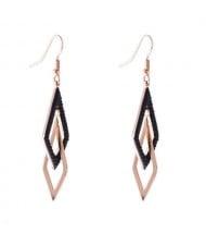 Dual Rhombuses Stainless Steel Shoulder Duster Tassel Women Earrings