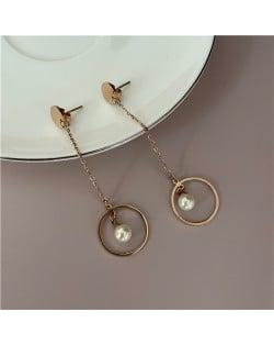 Pearl Inlaid Dangling Ring Women Stainless Steel Shoulder Duster Earrings