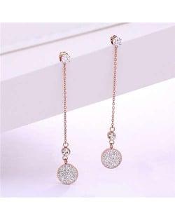 Rhinestone Inlaid Shining Round Pendant Korean Fashion Stainless Steel Tassel Earrings