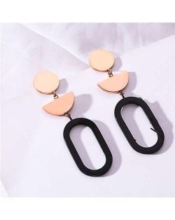 Geometric Combo Contrast Color Stainless Steel Women Tassel Earrings