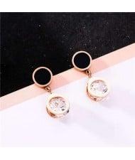 Shining Rhinestone Inlaid Round Style Stainless Steel Women Stud Earrings