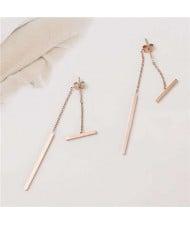 Simple Sticks Combo Stainless Steel Earrings - Rose Gold