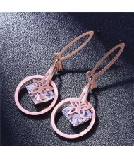 Butterfly and Rhinestone Inlaid Love Theme Hoop Fashion Stainless Steel Earrings