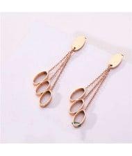 Dangling Ovals Short Fashion Women Stainless Steel Earrings