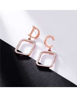 Alphabets with Rhinestone Embellished Square Hoop Combo Stainless Steel Earrings