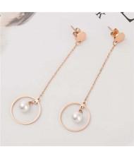 Pearl Inlaid Elegant Dangling Ring Stainless Steel Women Tassel Earrings