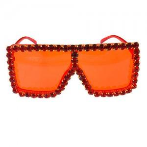 Glistening Rhinestone Rimmed Star Fashion Women Sunglasses - Red