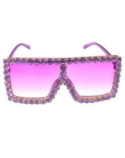 Glistening Rhinestone Rimmed Star Fashion Women Sunglasses - Purple