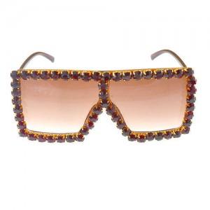 Glistening Rhinestone Rimmed Star Fashion Women Sunglasses - Brown