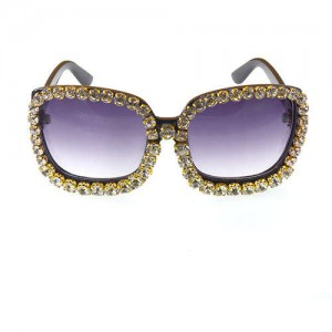 Shining Rhinestone Embellished Bold Fashion Model Style Women Sunglasses - White