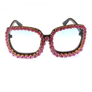 Shining Rhinestone Embellished Bold Fashion Model Style Women Sunglasses - Rose