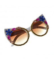 Rhinestone Flowers Decorated U.S. High Fashion Women Sunglasses