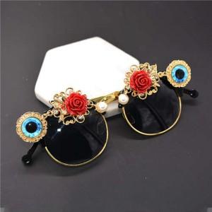 Roses Decorated Punk Fashion Women Sunglasses