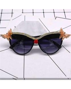 Butterflies Embellished Vintage High Fashion Women Sunglasses