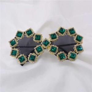 Square Green Gems Embellished High Fashion Women Sunglasses - Green