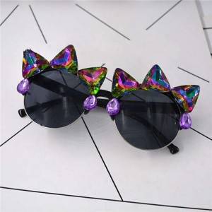 Rhinestone Rivets Embellished Punk Fashion Women Sunglasses