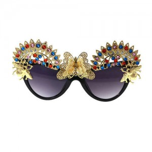 Butterflies and Beetles Embellished High Fashion Women Party Sunglasses