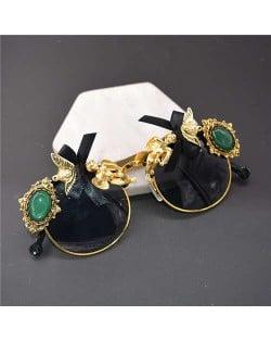 Angels and Gems Embellished Black Fashion Women Costume Sunglasses
