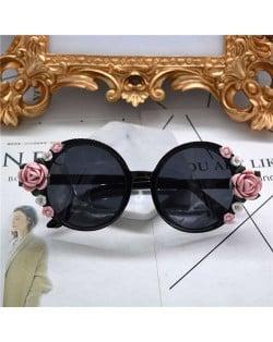 Flowers Embellished Black Fashion Women Costume Sunglasses